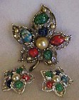 Vintage Sarah Coventry Fantasy brooch and earrings