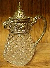 Lion head creamer/syrup pitcher glass and silver plate