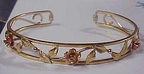 Vintage Krementz rose gold filled cuff braceelt