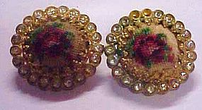 Austria rose needlepoint & rhinestone clip earrings