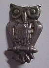 Vintage hand crafted solid silver owl pin