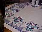 Vintage cotton print tablecloth Blue green burgundy
