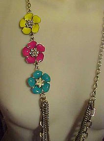 Long enamel Rhinestone  flowers with chains necklace