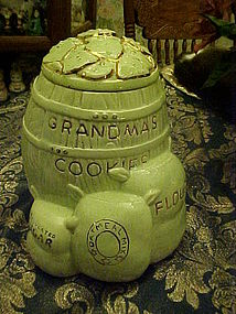 Rare Twin Winton green Grandmas cookies cookie jar