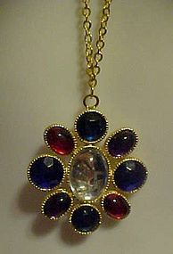 Vintage colorful  pendant on chain signed BonneyJ