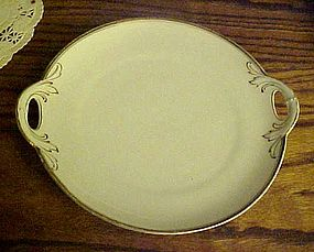 Old PNT Bavaria white & gold serving plate w/ handles