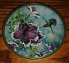 Anna's Hummingbird and Petunias  plate by Cyndi Nelson