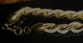 Vintage Trifari gold link necklace w/  faux seed pearls