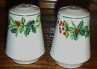 Holly berries and Ivy porcelain salt and pepper shakers