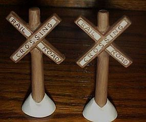 2 Lefton Colonial Village  porcelain R/R crossing signs