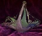 Murano hand blown Art glass basket, pink green & blue