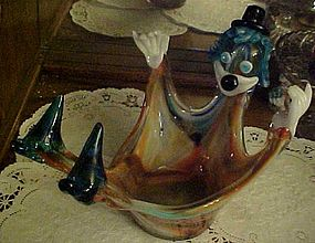 Vintage hand blown art glass clown bowl unusual Murano?