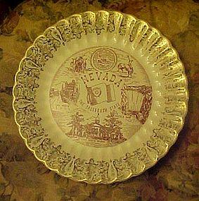 Vintage Nevada State souvenir plate points of interest