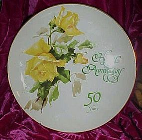 Vintage Happy Anniversary 50 Years yellow roses plate