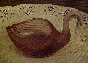 L G Wright rose pink swan salt cellar salt dip