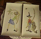 Vintage pr hand painted fishing man & woman dishes