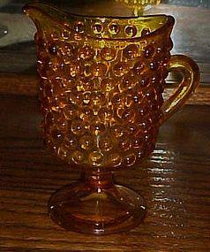 Fenton amber hobnail pedestal foot creamer