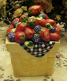 Basket of strawberries and blackberries cookie jar
