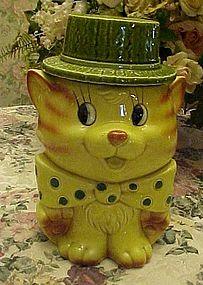 Vintage tabby cat cookie jar with polka dot tie and hat