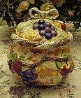 Fall leaves and fruits ceramic cookie jar hand painted