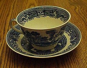 Swinnertons blue Old Willow cup n' saucer Staffordshire