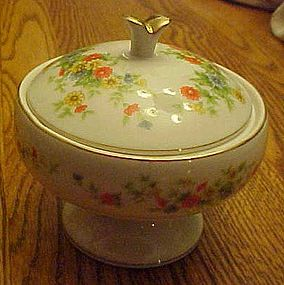 Lefton LEF72 covered  bowl orange blue yellow flowers