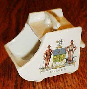 Antique Sheffield coat of arms, toothpick, salt dip???