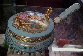Beautiful vintage porcelain silent butler romance scene
