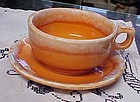 Oven Proof USA Hull orange drip soup  mug and saucer