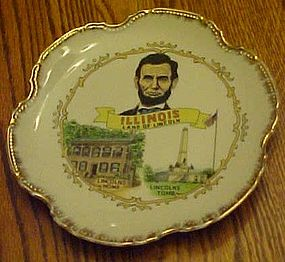 Vintage Illinois Land of Lincoln souvenir plate