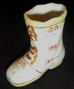 Vintage hand painted high top boot shoe figurine