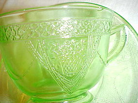 Federal Georgian Lovebirds green cup and saucer
