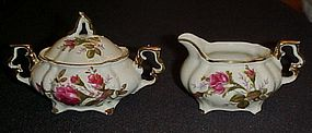 Royal Sealy Moss Rose childs creamer and sugar set