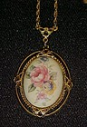 1928 Jewelry Co. porcelain hand painted rose pendant