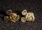 Mickey Mouse sterling gold wash post back earrings