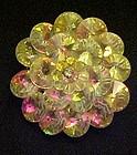 Vintage austrian crystal aurora borealias cluster pin