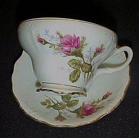 Vintage  Moss Rose demitasse cup and saucer  Japan
