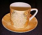 China  yellow and gold Chrysanthemum teacup and saucer