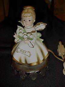 Vintage May Birthday angel night light lamp