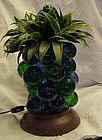 60's resin grapes pineapple lamp blue and green WORKS!!
