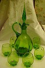 Vintage hand blown green decanter with 6 glasses ITALY