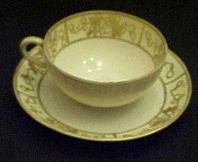 Antique Nippon teacup and saucer with relief moriage
