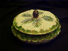Hand painted pine cone ceramic powder jar 1961