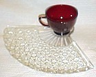 Anchor Hocking crystal fan snack plate with ruby cup