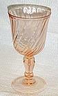 Cris D' Arques / Durand Rosaline pink swirl wine goblet