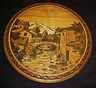 Vintage fancy Pyrography round scenic plaque signed Gap