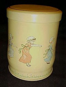 Adorable Kate Greenaway metal tin with Children hopping