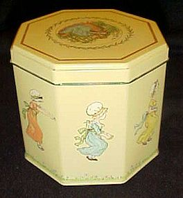 Adorable Kate Greenaway metal tin Children playing