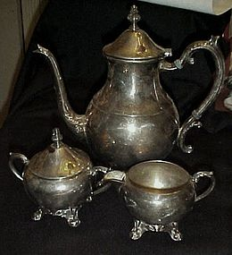 F.B. Rogers 1883  silverTea pot creamer and sugar set