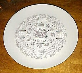"Vintage 1970 10"" calendar plate with zodiac signs USA"